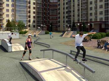 Скейт парк на территории комплекса